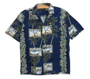 ♪美品 ROYAL CREATIONS ロイヤルクリエーションズ ハワイ製 オープンカラー 開襟 アロハシャツ M コットン
