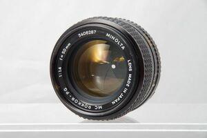 現状品 ● MINOLTA MC ROKKOR-PG 50mm F1.4 ミノルタ ロッコール 単焦点 オールド リアキャップ付 R表記有 レンズ遊び コニカミノルタ #721