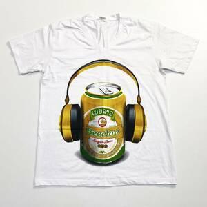 USA古着 Beerlao ビアラオ ビール プリント Tシャツ L 白 メンズ アート 企業 コンディション良好 送料198円 20-0826