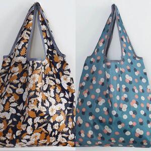 防水エコバッグ 折りたたみ 大容量買い物袋 ショッピングバッグ M ×2点セット