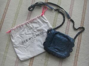 ●美品 保存袋付●SEE BY Chloe クロエ●レザー 本革●上品ショルダーバッグ●光沢カラーが可愛い♪ポシェット*斜め掛け●かばん●