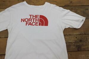 THE NORTH FACE ロゴプリント Tシャツ 白 ホワイト/レッド S/P(日本サイズL相当)ノースフェイス
