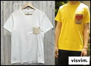 VISVIM ビズビム WOOL POCKET TEE ロゴ プリント ワッペン 刺繍 半袖 クルーネック ウール ポケット Tシャツ カットソー ホワイト 白 M