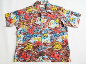 デカ襟★ L ALOHA★ 半袖開襟アロハシャツ★ ハワイアン 70s KOREA製 フラガール ハイビスカス