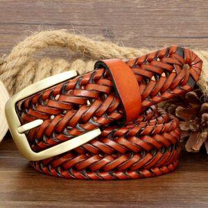 1スタ★買って納得★メンズ 牛革 なめし革 編み込み ベルト ヴィンテージ ピンバックル レザー Light brown