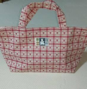 ハンドメイド トートバッグ かばん サブバッグ エコバッグ ランチバッグ 赤 ピンク チューリップ 手作り