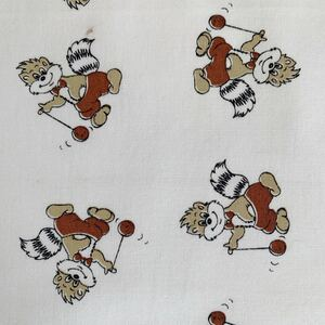 はぎれ 91×76 アライグマ柄 デットストック 生地 リメイク 雑貨 コレクター アンティーク ハンドメイド 手作り 布 昭和レトロ ビンテージ
