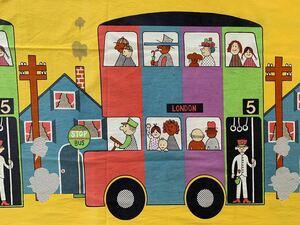 はぎれ 91×240 ロンドン 2階建てバス ビンテージ カラフル ハンドメイド リメイク 手作り デットストック 布 ヴィンテージ アンティーク