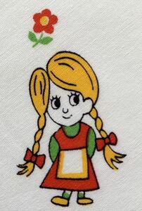 60.5×43 子供柄 手作りマスク デッドストック 80's 昭和レトロ 生地 リメイク コレクター 布 ハンドメイド 女の子 ヘンテコ ヴィンテージ