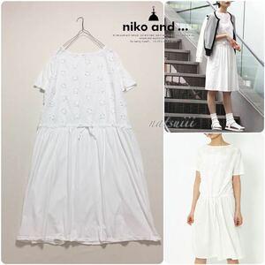 【 夏物セール 】 niko and ニコアンド . フラワー 立体 刺繍 切り替え カットソー ワンピース ホワイト 送料無料