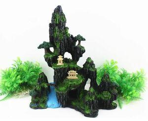 水槽用オブジェ オーナメント 苔の生えた岩山 アクアリウム (Eタイプ)