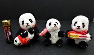 C2# 毛糸のパンダ3体まとめて マスコット かわいい パンダ まとめ #822/5