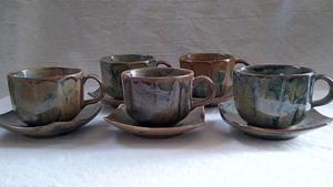 【コーヒーカップ】『良品』 京谷 コーヒーカップ ソーサー付き 5客セット ブラウン 泥色 深緑 こげ茶 ・(管理)200714-0803-2