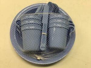 ★未使用★ ピクニックセット 食器 6人用 プラスチック 全30点セット アウトドア バーベキュー キャンプ ブルー