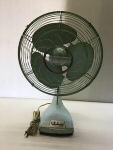 ★アンティーク★ 鉄製 古い 扇風機 三菱 鉄羽根 3枚羽根 首振り 昭和レトロ ライトグリーン