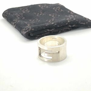 SV925 銀無垢 GUCCI グッチ ブランデッド ワイド Gリング 指輪