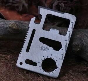 新品 11種類の機能 カードサイズ ナイフ 便利 キャンプ アウトドア サバイバル キット マルチツール ステンレス製 即納