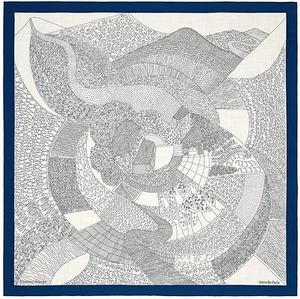 1514 新品 エルメス カレジェアン140 田園を通り抜けて グレー ブルー カシミア シルク ショール 大判ストール レディース メンズ スカーフ