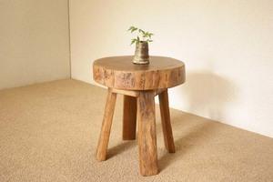 『癒し』アンティーク*チーク古木自然杢*オールドチーク*銘木*無垢*木の椅子*古い木*ナチュラルウッド*天然木*スツール☆輪切椅子/WD-054bs