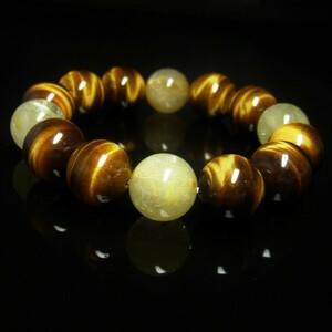 ゴールド タイチンルチル タイガーアイ ブレスレット 14ミリ 天然石 数珠 最強金運 パワーストーン 金針水晶 虎目石 プレゼント ギフト