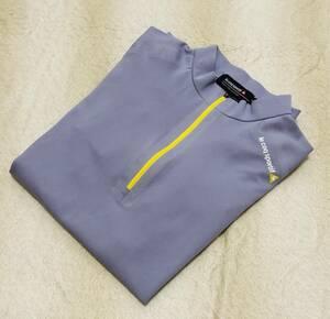 【送料無料】☆ルコック ゴルフ☆半袖 ハーフジップ シャツ M グレー系 ポロシャツ QG1780