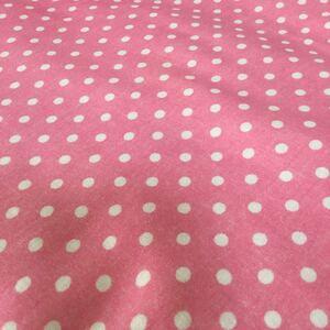 ダブルガーゼ・水玉柄★カットクロス・ストロベリーピンク 巾約112×50 センチ