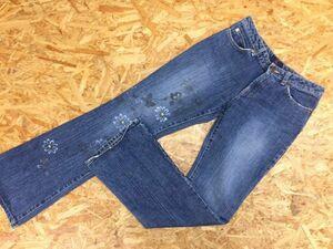 Iull 和柄 花柄 ペイント USEDウォッシュ ブーツカット デニムジーンズ パンツ レディース 日本製 綿100% M 紺