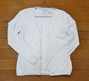 組曲 白色(ホワイト)半袖カットソー&長袖カーディガン アンサンブル(セット) サイズS2 小さいサイズ 難あり
