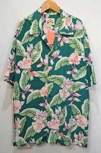 【即決】90's PINEAPPLE JUICE S/S ハワイアンシャツ レーヨン アロハシャツ 緑 グリーン ボタニカル柄 総柄 オープンカラー 開襟 XL 半袖
