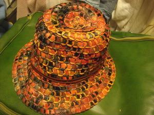 2008イタリアITALY製FERRUCCIO VECCHIフェリシオベッキviscoseクレイジーCRAZYパネル鱗・タイル中折れHATハット帽子ストロー麦わらフェドラ