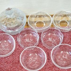 皿(8セット)ガラス皿 カップ デザート皿