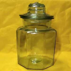 昭和レトロ 硝子瓶 八角形 お菓子入れ 骨董 旧家蔵出し 送料無料