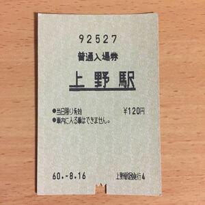 国鉄使用済 普通入場券 上野駅