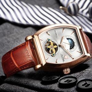 【送料無料】メンズ腕時計 46mm 機械式 自動巻 ムーンフェイズ トゥールビヨン 本革ベルト 紳士 ビジネス ファション ホワイト