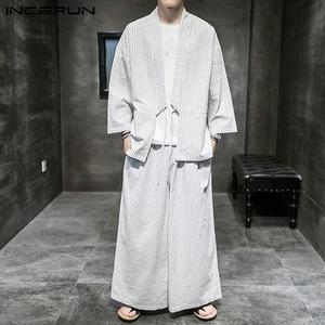 夏上下セット メンズ リネンカーディガン サルエルパンツ セットアップ 綿麻 ストライプ ゆったり 男性用羽織 浴衣 大きいサイズXL~5XL白
