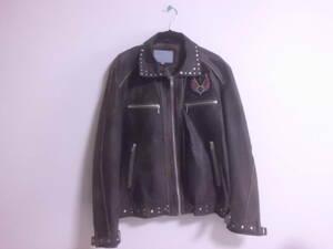 Licorice リコリス レザージャケット 表地 豚革 Lサイズ ライダースジャケット ブラウン 革ジャン