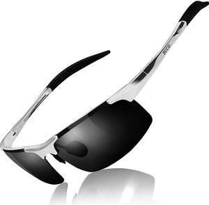 【送料無料】DUCO スポーツサングラス 偏光サングラス UV400保護 AL-MG合金 超軽量 自転車/釣り/ゴルフ 8177S シルバー グレー