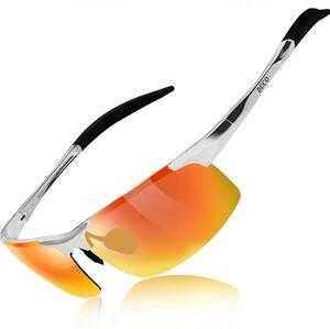【送料無料】DUCO スポーツサングラス メンズ 偏光サングラス UV400保護 AL-MG合金 超軽量 釣り/野球/スキー/ゴルフ 8177S ゴールド