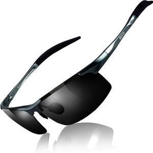 【送料無料】DUCO スポーツ サングラス メンズ 偏光サングラス UV400保護 AL-MG合金 超軽量 自転車/釣り/野球 ゴルフ用 8177S グレー