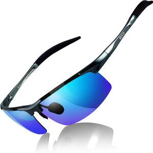 【送料無料】DUCO スポーツ サングラス 偏光サングラス UV400保護 AL-MG合金 超軽量 釣り/野球/スキー/ゴルフ用 8177S ブルー 青