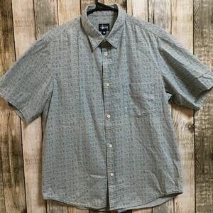 USA製 90s オールド ステューシー OLD STUSSY半袖 シャツ ネイティブ 柄 紺タグ 総柄 ボタンダウン M