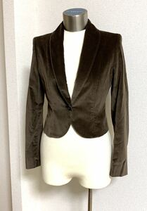 TONELLO トネッロ コットン ポリウレタン ベルベット ベロア シングルジャケット テーラードジャケット サイズ40 ブラウン イタリア製
