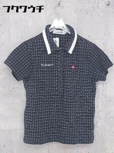 ◇ le coq sportif ルコックスポルティフ 総柄 半袖 ポロシャツ サイズM ネイビー系 ホワイト レディース