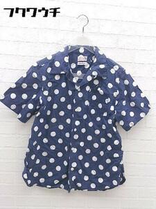 ◇ BEAMS BOY ビームスボーイ ドット 水玉 半袖 シャツ ネイビー ホワイト レディース
