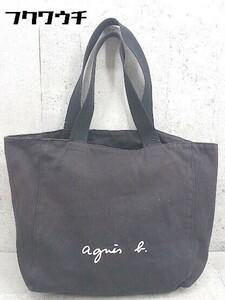 ◇ agnes b アニエスベー キャンバス トート ハンド バッグ ブラック系 レディース