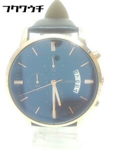 ◇ CUENA 6801 動作確認済 クロノグラフ クォーツ アナログ 腕時計 ウォッチ ブラック ゴールド系 メンズ