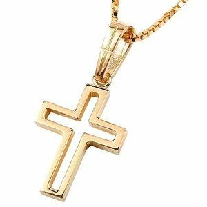 メンズ クロス ネックレス トップ ピンクゴールドk10 ペンダント 一粒 10金 チェーン 十字架 人気 透かし つや消し シンプル 送料無料