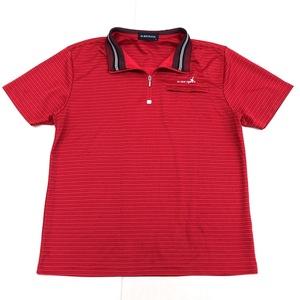 ALBATROSS アルバトロス 吸汗速乾 ロゴ刺繍 ハーフジップ ドライ ゴルフシャツ L 赤 レッド メンズ 半袖 ポロシャツ 国内正規品