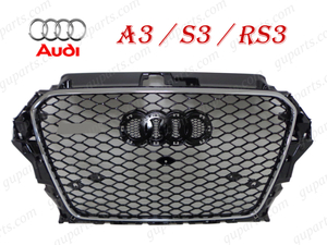 ▼ AUDI A3 S3 → RS3 LOOK '13~'16 8V 8VC 前期 フロント メッシュ ラジエーター グリル 8VCXS 8VCJSF 8VCPT 8VCXSL 8VCPTL 8VCJSL 8VCJXF