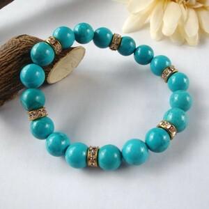 ☆ Turquoise (Turkish stone) Natural stone bracelet Men's Ladies Gold Londel Round 16 cm